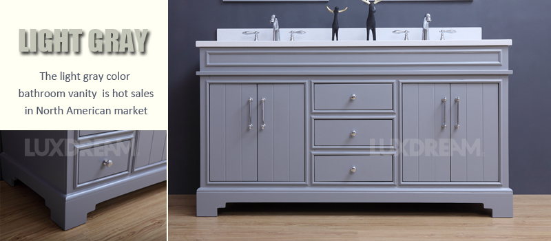 light gray bathroom vanity. It is not easy to make new designs  we need do some samples first test and improve again until sure the design Why Luxdream release bathroom vanities every month