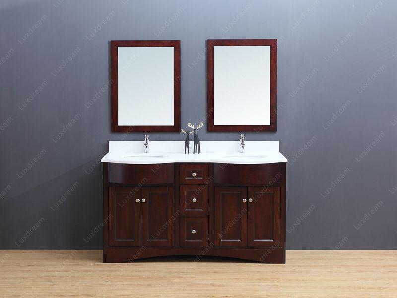 cherry bathroom vanity with cherry mirror